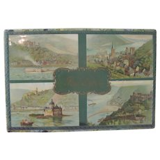 Old Celluloid and Floral Wallpaper Postcard Box w/ Idyllic European Scenes c1915