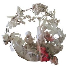Antique Victorian Plaster and Cloth Flower Wedding Cake Topper Decoration c1900 w/ Cherub Doll Figure
