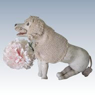 Antique Schoenhut Circus Wooden Poodle Dog  Doll Accessory C1900
