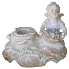 Antique Victorian Porcleian Figural Inkwell Vase w/ Flowers and Angel/Cherub c1900