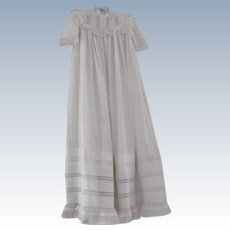 Old Victorian Baby Christening Dress w/ Lace and Pintucks C1880 Doll Dress