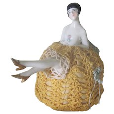 Vintage Art Deco Porcelain Half Doll Flapper Pincushion c1930