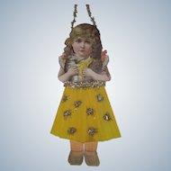 Antique Victorian Scrap and Crepe Paper Little Girl Christmas Ornament Decoration