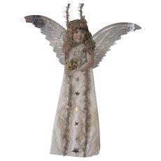Antique Victorian Scrap and Cotton Angel Christmas Ornament Decoration with Metallic Wings 12""