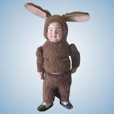 Reserved for Barbara! Antique Child Dressed as Easter Bunny German Candy Container Doll c1900
