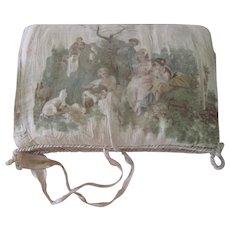 Antique French Silk Romantic Hand Painted Boudoir Bridal Lingerie Pouch Pocket c1900