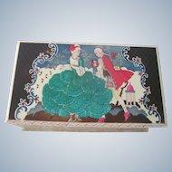 Vintage Art Deco Hand Painted 18th Century Style Engraved Austrian Decorative Box w/ Musical Provenance c1932 Vienna