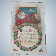 Old Christmas Postcard with Santa Claus c1910