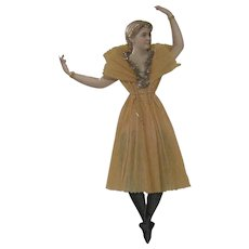 Antique Victorian Large Scrap and Crepe Paper Jointed Ballerina Christmas Ornament Decoration