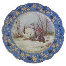 Rare Antique Austrian Bruder Schwalb Carlsbad Saint Nicholas or Father Christmas Porcelain Cabinet Plate c1880