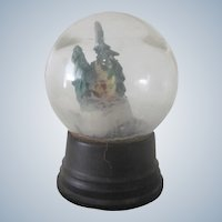 Old Christmas Glass Snow Globe Decoration with a Cabin in a Forest