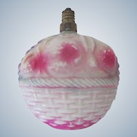 Vintage Japanese Glass Electric Christmas Fruit Basket Light Decoration c1920