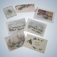 Old Set of Seven Christmas Gift Tags and Small Cards c1910