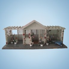 "Antique Gottschalk 26 1/2"" Dollhouse Gazebo Garden House C1900"