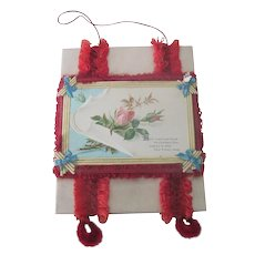 Old Victorian Silk Fringed Christmas Greeting Keepsake Card for a Friend with Roses c1890