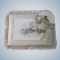 Old Victorian Silk Fringed Christmas Greeting Keepsake Card Picture with Frame c1890