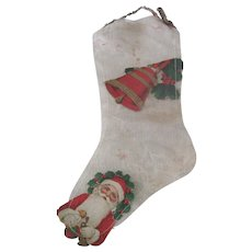 Old Mesh and Die Cut Santa Claus Christmas Stocking Decoration Ornament c1920