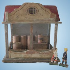 Reseved for Katherine !Antique Miniature Wooden Toy Barn Stable Dollhouse c1880