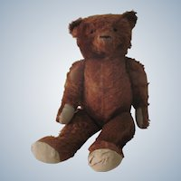 Large Vintage Cinnamon Mohair Teddy Bear Doll c1920 27""