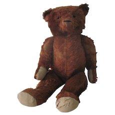 """Large Vintage Cinnamon Mohair Teddy Bear Doll c1920 27"""""""