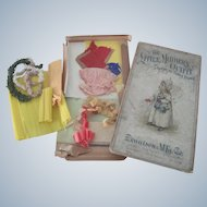 Old Victorian Child's Crepe and Tissue Paper Doll Clothes Making Set c1900