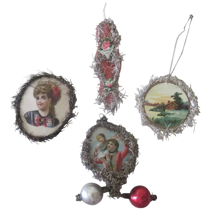 old victorian scrap and tinsel christmas ornaments decorations set of four - Tinsel Christmas Decorations