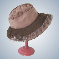 Small Child's / Girl's Silk Beaded Cloche Hat c1920's