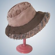 Small Child's / Girl's Silk Beaded Cloche Hat c1920's