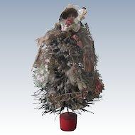 Vintage Miniature Dollhouse Bottle Brush Christmas Tree with Scrap Ornaments