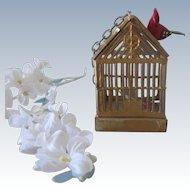 Antique German Miniature Dollhouse Gold Soft Metal Bird Cage w/Two Birds