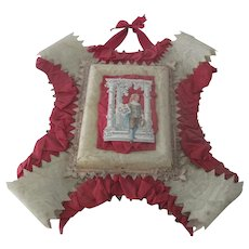 Large Old Victorian Ornate Valentines Card Picture with Satin and Lace Embellishments