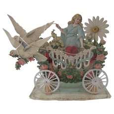 Antique Victorian Ornate Fold Out Embossed Die Cut Valentine Card with Angel, Doves. Rose Garlands and Chariot