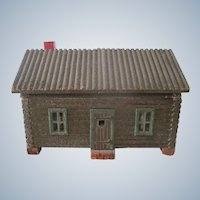 Antique Wooden Log Cabin Dollhouse with Wallpapered Interior
