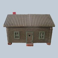 RESERVED!Antique Wooden Log Cabin Dollhouse with Wallpapered Interior