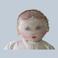 Antique Large Oil Painted Columbian Cloth Primitive Doll c1890