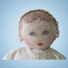 Antique Large Oil Painted Columbian Cloth Primitive Doll c1890