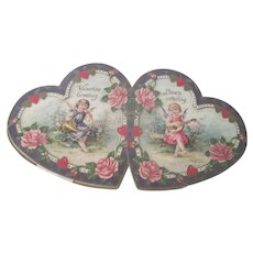 Old Victorian Valentine Card with Cherubs