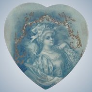 Old Victorian Valentine Card with 18thc Lady