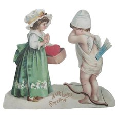 Old Victorian Valentine Card with Cherub