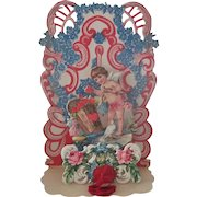 Old Vintage Victorian Style Fold Out Valentine Card with Cherub c1930's