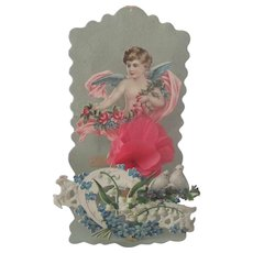 Old Victorian Embossed Die Cut Valentine Card with Cherub and Flowers