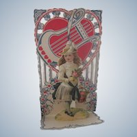 Vintage Victorian Style Fold out Valentine Card c1930