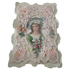 Old Victorian Paper Lace and Embossed Die Cut Valentine Card