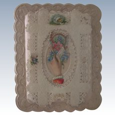 Old Victorian Paper Lace and Die cut Valentine Card