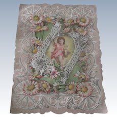 Old victorian Metallic Paper Lace and Die Cut Valentine Card with Flowers and Cherubs