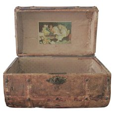 Antique Timeworn Domed Lid Wooden Doll Trunk