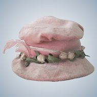 Antique Pink Velvet, Feather and Millinery Flower Factory Made Doll's Hat