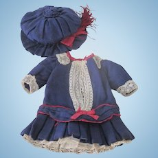 Antique Factory Made Doll Dress and Hat Set