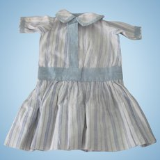 Old Handmade Blue and White Cotton Striped Doll Dress c1910
