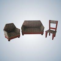 Antique Dollhouse Sofa, Arm Chair and Chair Parlour Set